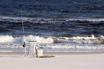 fishing gear on an Alabama Gulf coast beach