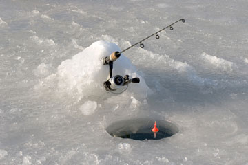 ice fishing on a frozen Minnesota lake