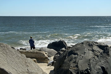 surf fishing at the New Jersey shore