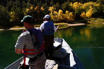 fly fishing from an aluminum boat, Green River, Utah